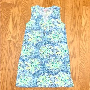 Lilly Pulitzer blue and green cotton tank dress xs